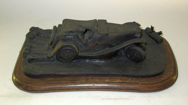 An MG TC bronze sculpture by Chris Davis,