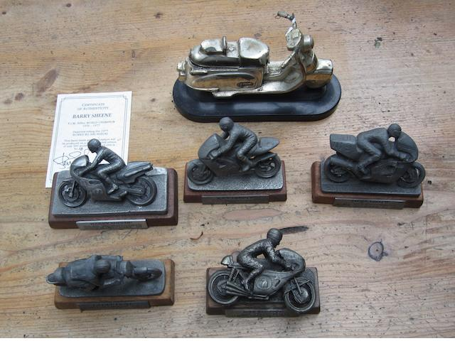 Five pewter motorcycle models by Glen English,