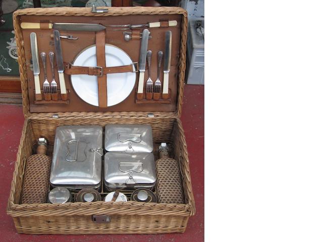 A 4-person wicker picnic basket,