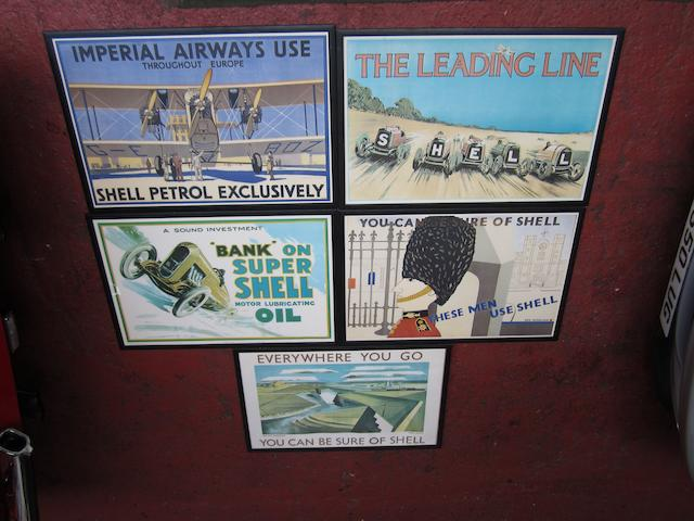 Five reproduction Shell advertising posters,