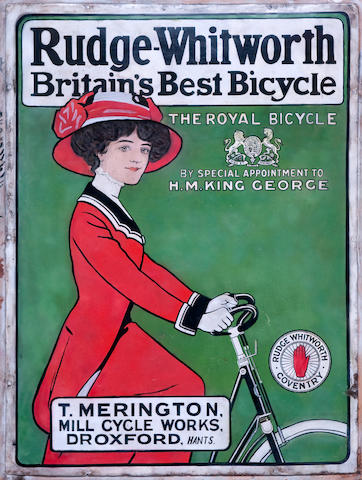 A rare 'Rudge Whitworth Bicycle' enamel advertising sign,