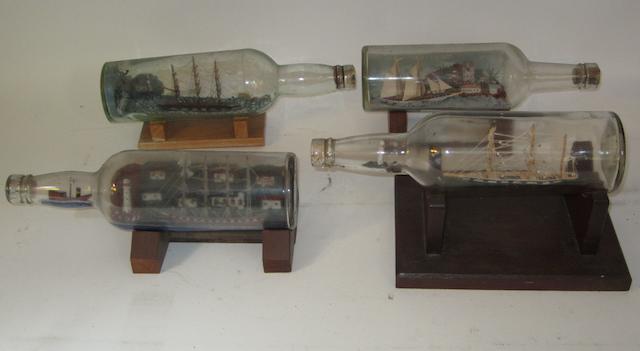 Four 'Ship in Bottle' models,