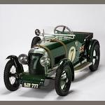 A child's pedal car in the form of a 'Le Mans Bentley',