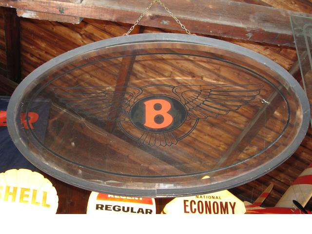 Three oval glass hanging adverting signs,