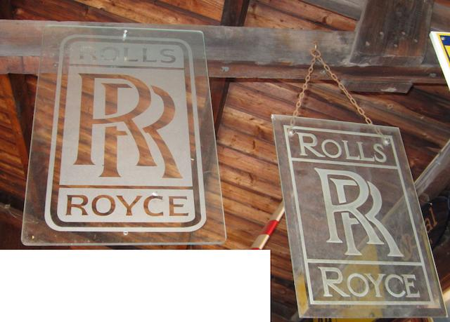 Two Rolls-Royce hanging glass advertising signs,