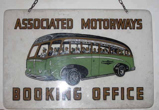 An Associated Motorways Booking Office hanging sign,