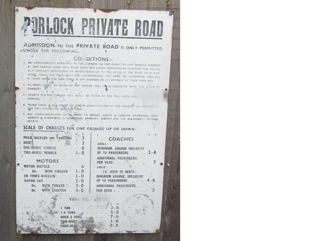 "A ""Porlock Private Road"" sign,"