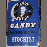 "A ""Gandy Machine Belting Stockists"" enamel sign,"