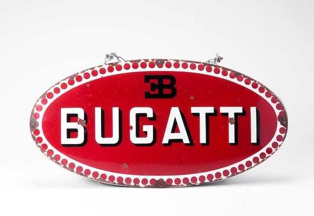 An enamel Bugatti badge sign,