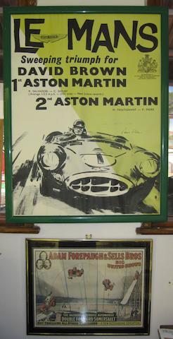 A replica Aston Martin Le Mans 1959 victory poster,