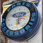 Two Ford advertising garage clocks,
