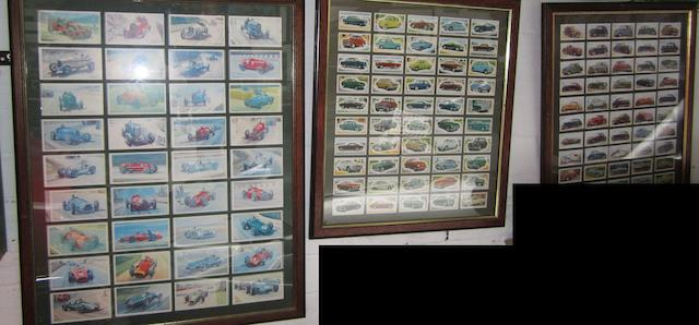 Eight framed displays of cigarette and trade cards,