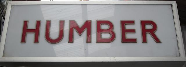 A Humber illuminated sign,