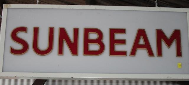 A Sunbeam illuminated sign,