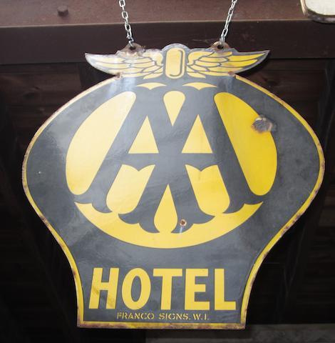 An AA Hotel enamel sign,