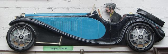 A Bugatti Type 55 wooden car profile,