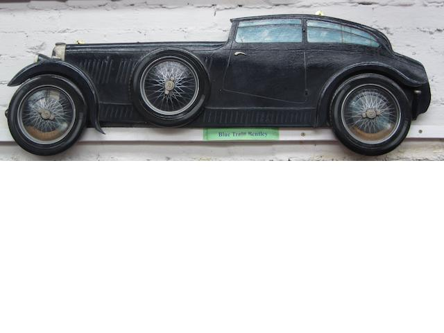 A Blue Train Bentley wooden car profile,