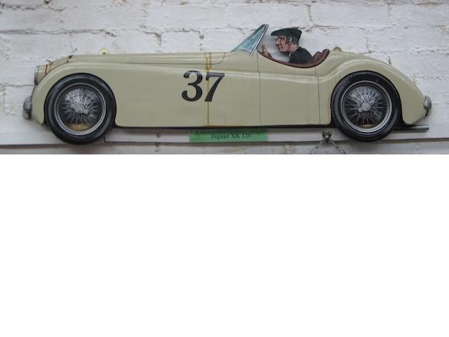 A Jaguar XK120 wooden car profile,