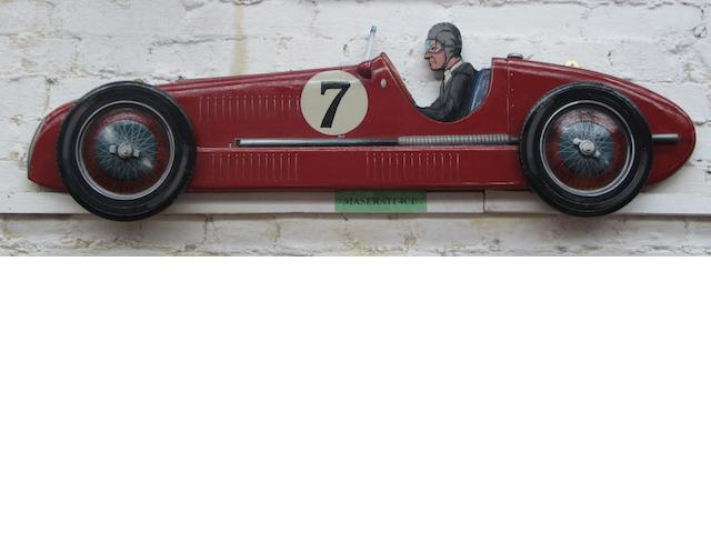 A Maserati 4cl wooden car profile,