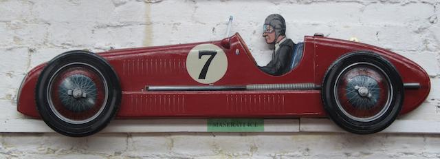 A Maserati 4cl wooden car profile,