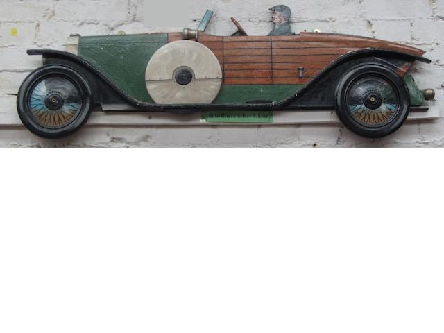 A Boat-Tail Rolls-Royce Silver Ghost wooden car profile,