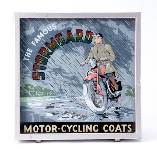 A Stormgard Motorcycling Coats illuminating sign,