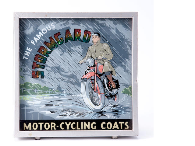 A Stormgard Motorcycling Coats illuminating sign,