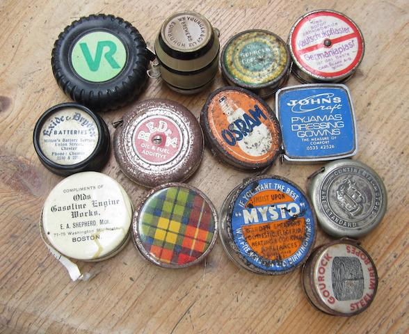 Assorted promotional pocket tape measures,