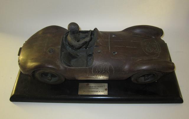 A Maserati A6GCS Giletti bronze sculpture by Francois Chevalier,