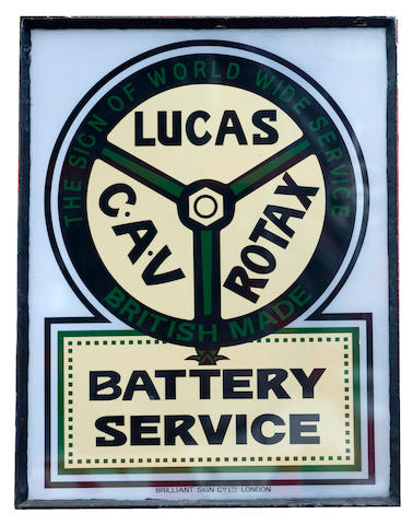 A Lucas – CAV- Rotax Battery Service illuminated hanging sign,