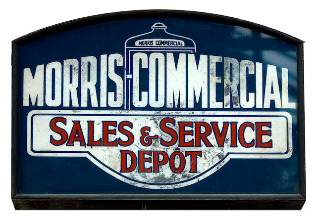 A Morris Commercial Sales and Service Depot illuminated box sign,