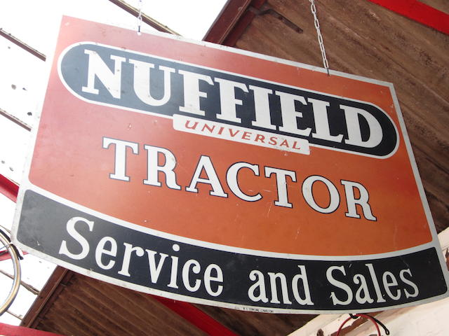 A Nuffield 'Universal Tractor' Service and Sales advertising sign,