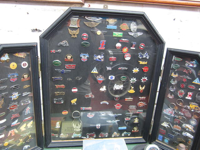 A collection of lapel badges,