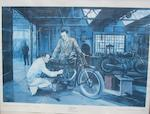 "Rod Organ, ""Stanley Woods on Velocette KTT at Speed IOM"" signed and dated 90,"
