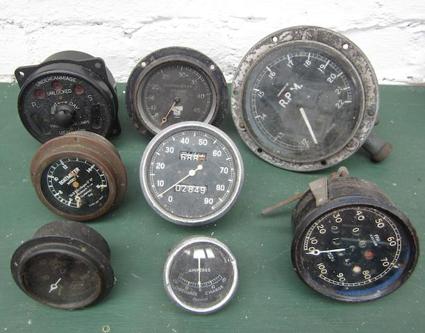 Assorted dashboard instruments,