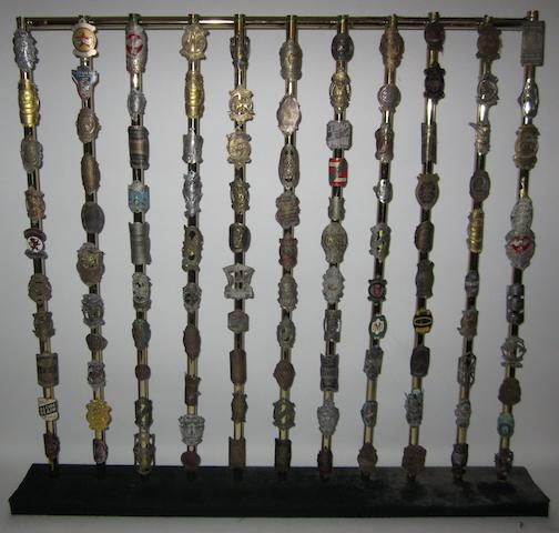 A display of bicycle headstock badges,