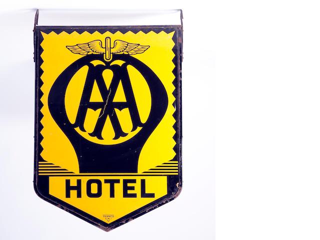 An AA Hotel enamel hanging sign,
