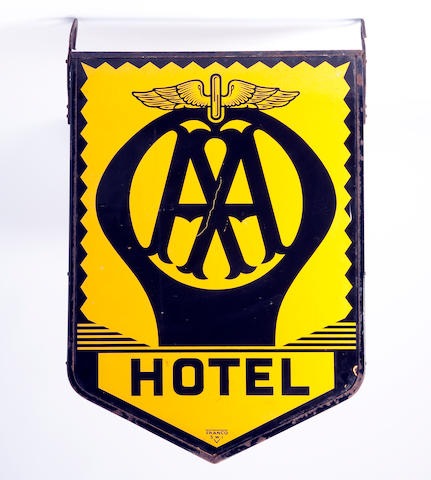 An AA Hotel enamel hanging sign,