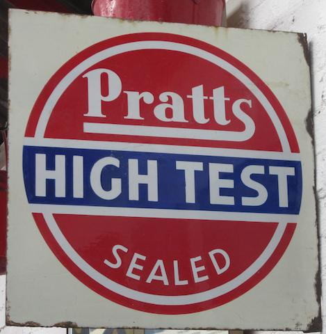 A Pratts High Test enamel sign,1930,