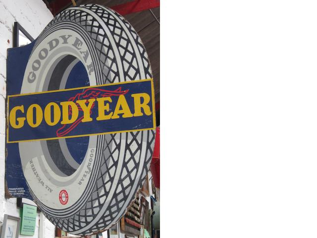 A Goodyear shaped enamel sign,