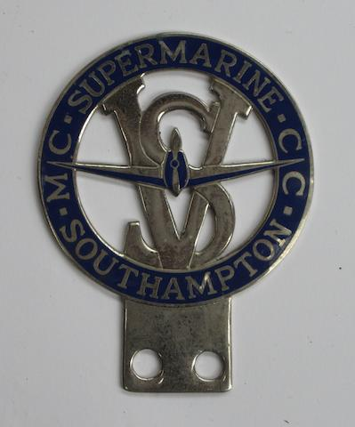 A rare Vickers Supermarine Motorcycle and Car Club Southampton enamel badge,