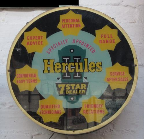 A 'Hercules 7-Star Dealer' illuminated showroom sign,