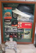 Assorted museum display items,