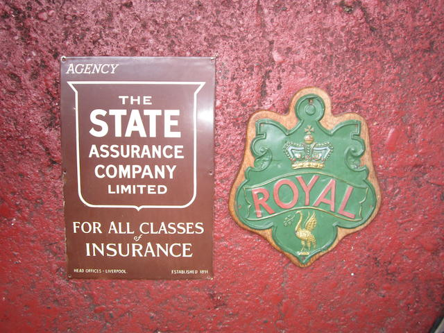 Two Insurance signs for State and Royal companies,