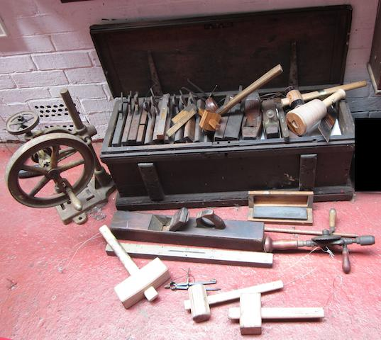 A trunk of woodworking tools,