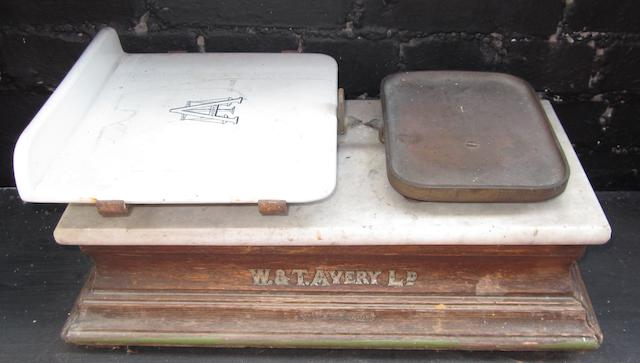 Two pairs of shopkeeper's scales,