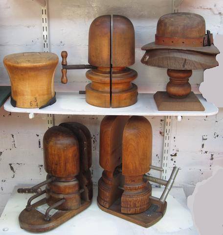 Five wooden milliner's hat shapers,