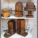 Five wooden milliner's hat shapers,