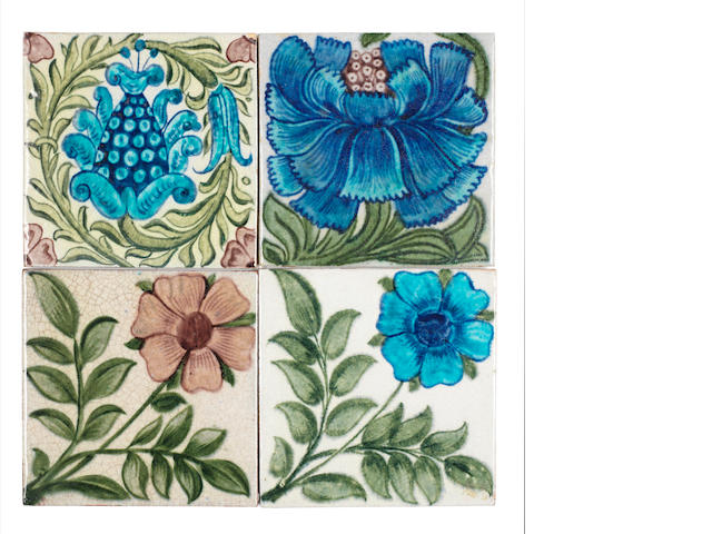 William De Morgan Four 6-inch tiles