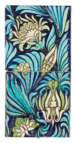 William De Morgan Two 6-inch tiles, mounted